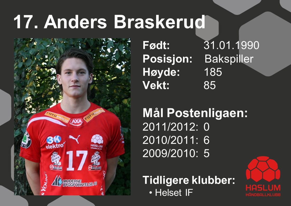 17. Anders Braskerud Født: 31.01.1990 Posisjon: Bakspiller Høyde:185 Vekt:85 Mål Postenligaen: 2011/2012: 0 2010/2011: 6 2009/2010: 5 Tidligere klubbe
