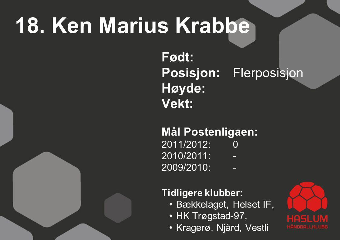 18. Ken Marius Krabbe Født: Posisjon:Flerposisjon Høyde: Vekt: Mål Postenligaen: 2011/2012: 0 2010/2011: - 2009/2010: - Tidligere klubber: Bækkelaget,