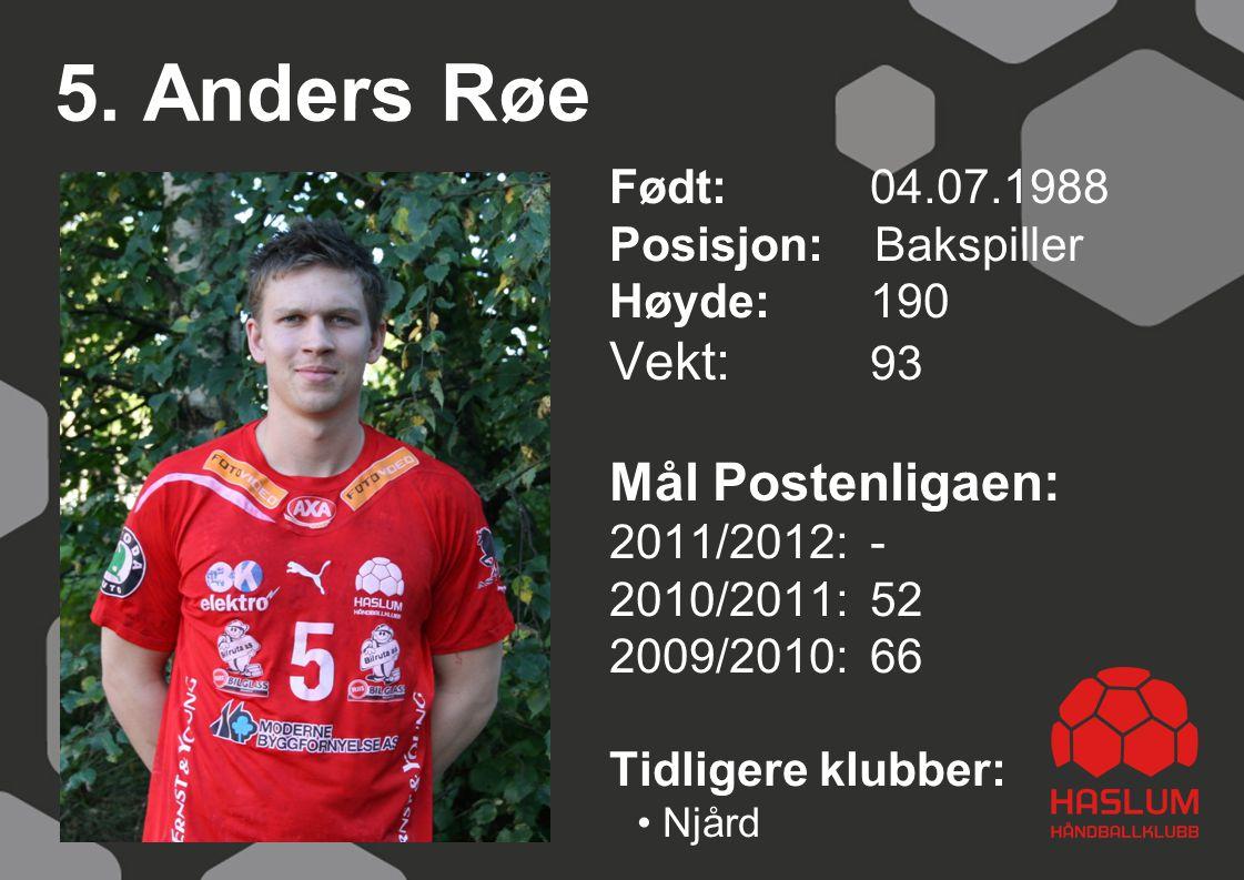 5. Anders Røe Født: 04.07.1988 Posisjon: Bakspiller Høyde:190 Vekt: 93 Mål Postenligaen: 2011/2012: - 2010/2011: 52 2009/2010: 66 Tidligere klubber: N