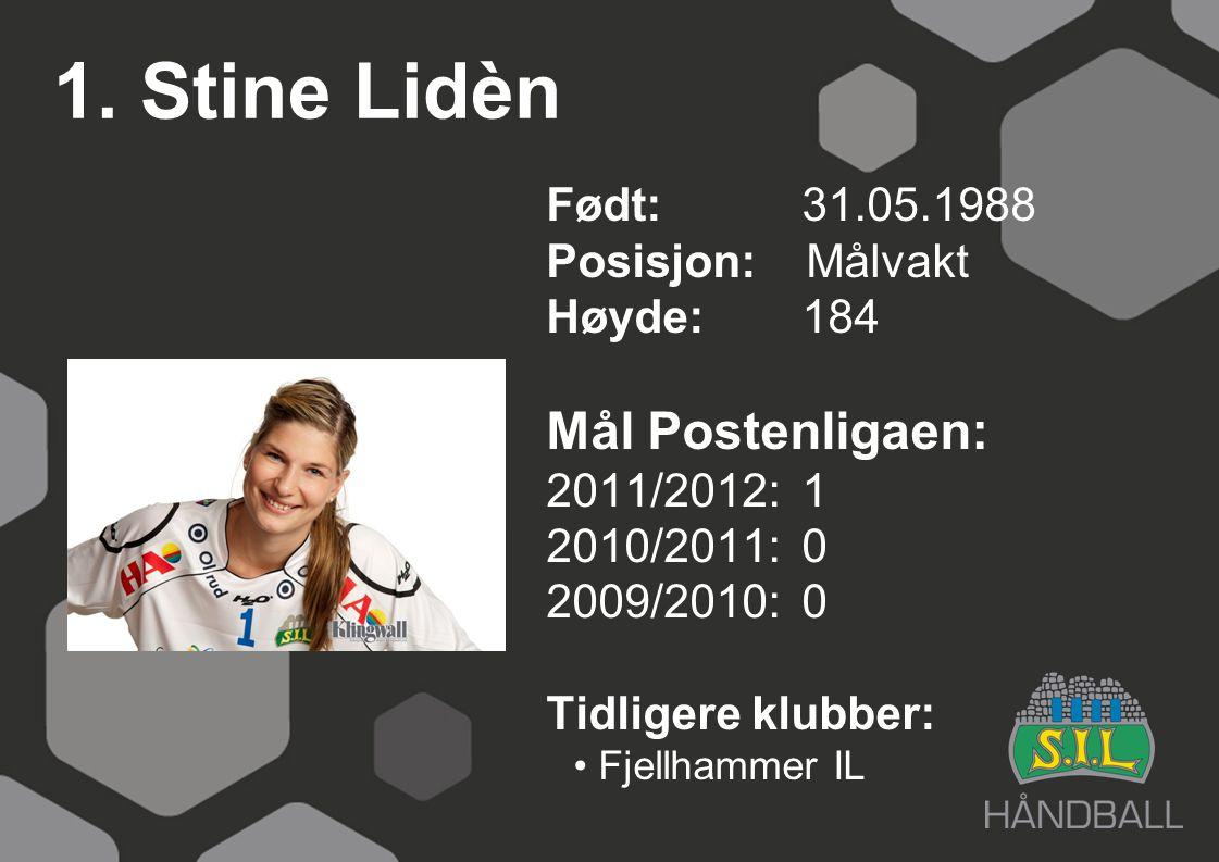 1. Stine Lidèn Født: 31.05.1988 Posisjon: Målvakt Høyde:184 Mål Postenligaen: 2011/2012: 1 2010/2011: 0 2009/2010: 0 Tidligere klubber: Fjellhammer IL