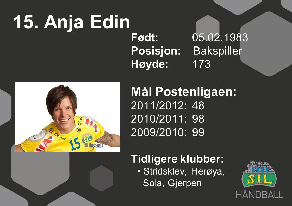 15. Anja Edin Født: 05.02.1983 Posisjon: Bakspiller Høyde:173 Mål Postenligaen: 2011/2012: 48 2010/2011: 98 2009/2010: 99 Tidligere klubber: Stridskle