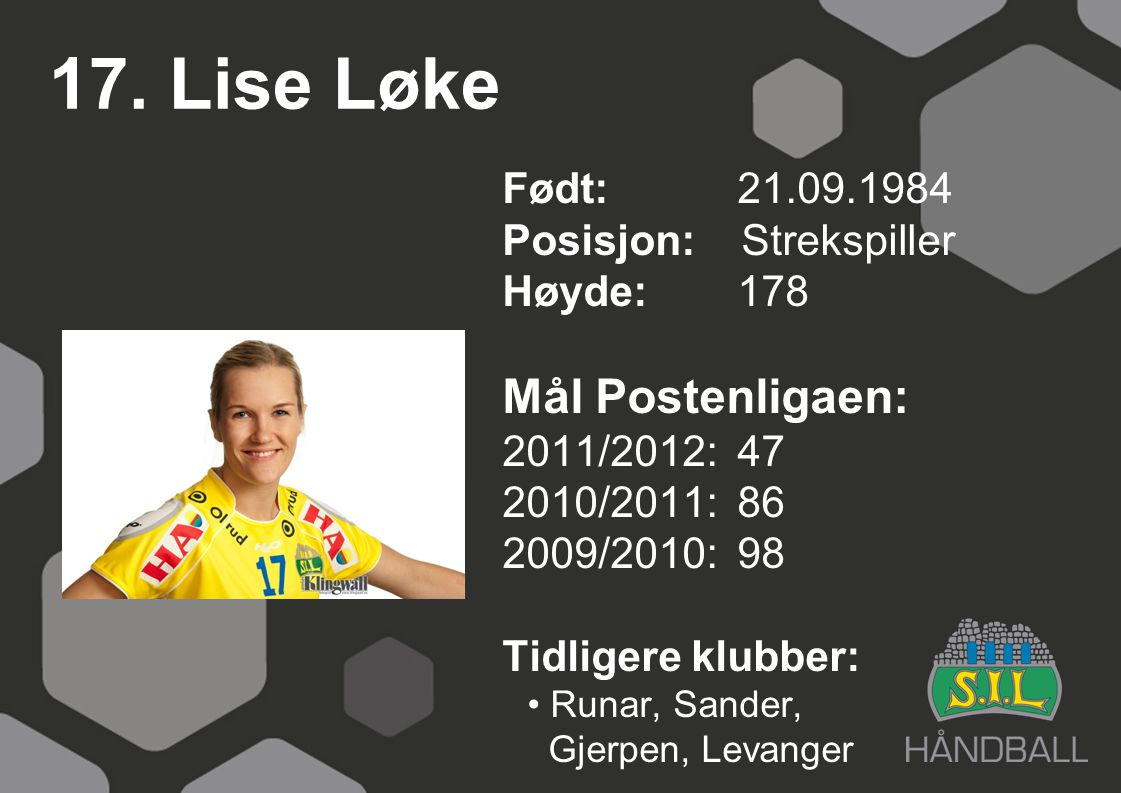 17. Lise Løke Født: 21.09.1984 Posisjon: Strekspiller Høyde:178 Mål Postenligaen: 2011/2012: 47 2010/2011: 86 2009/2010: 98 Tidligere klubber: Runar,