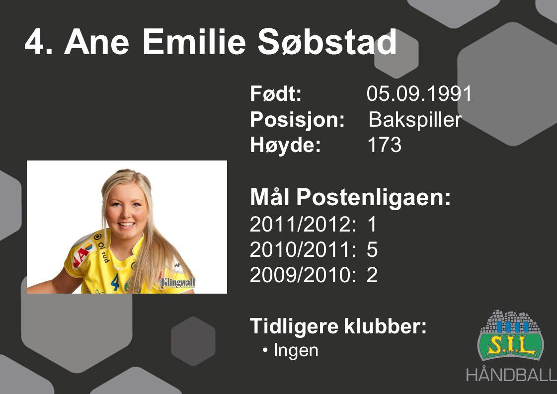 4. Ane Emilie Søbstad Født: 05.09.1991 Posisjon: Bakspiller Høyde:173 Mål Postenligaen: 2011/2012: 1 2010/2011: 5 2009/2010: 2 Tidligere klubber: Inge