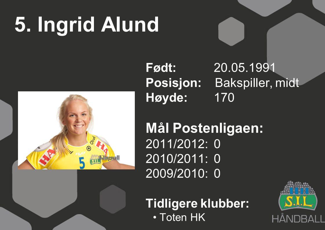 5. Ingrid Alund Født: 20.05.1991 Posisjon: Bakspiller, midt Høyde:170 Mål Postenligaen: 2011/2012: 0 2010/2011: 0 2009/2010: 0 Tidligere klubber: Tote