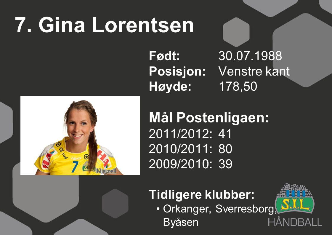 7. Gina Lorentsen Født: 30.07.1988 Posisjon:Venstre kant Høyde:178,50 Mål Postenligaen: 2011/2012: 41 2010/2011: 80 2009/2010: 39 Tidligere klubber: O