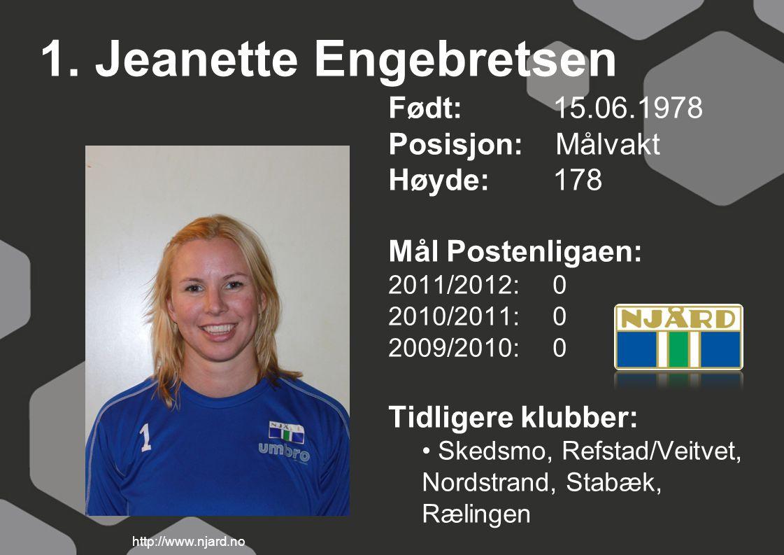 1. Jeanette Engebretsen Født: 15.06.1978 Posisjon: Målvakt Høyde:178 Mål Postenligaen: 2011/2012: 0 2010/2011: 0 2009/2010: 0 Tidligere klubber: Skeds