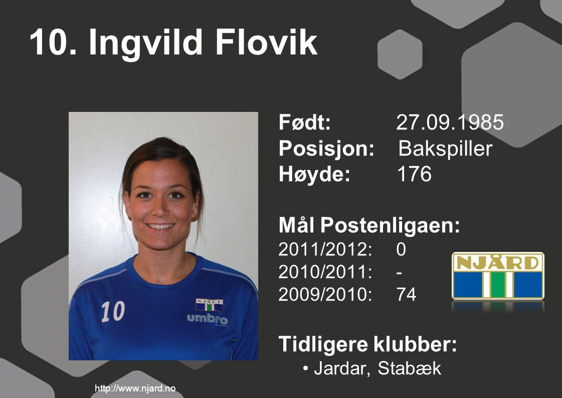10. Ingvild Flovik Født: 27.09.1985 Posisjon: Bakspiller Høyde:176 Mål Postenligaen: 2011/2012: 0 2010/2011: - 2009/2010: 74 Tidligere klubber: Jardar