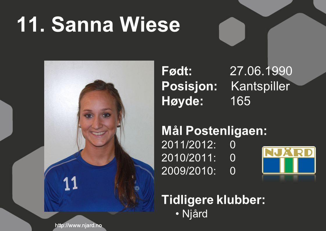 11. Sanna Wiese Født: 27.06.1990 Posisjon: Kantspiller Høyde:165 Mål Postenligaen: 2011/2012: 0 2010/2011: 0 2009/2010: 0 Tidligere klubber: Njård htt