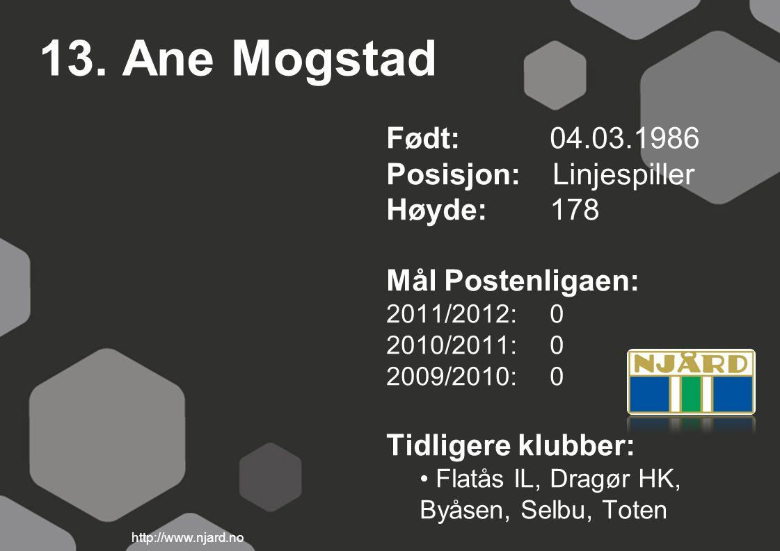 13. Ane Mogstad Født: 04.03.1986 Posisjon: Linjespiller Høyde:178 Mål Postenligaen: 2011/2012: 0 2010/2011: 0 2009/2010: 0 Tidligere klubber: Flatås I