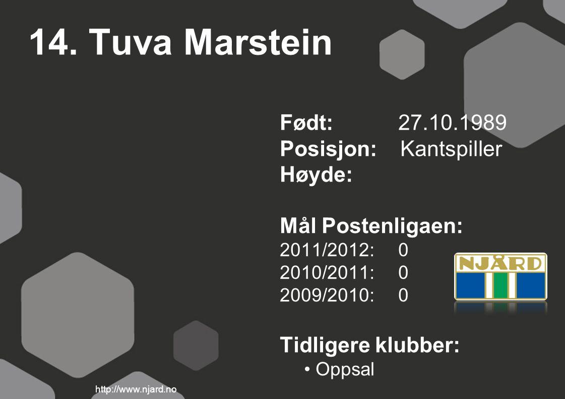 14. Tuva Marstein Født: 27.10.1989 Posisjon: Kantspiller Høyde: Mål Postenligaen: 2011/2012: 0 2010/2011: 0 2009/2010: 0 Tidligere klubber: Oppsal htt
