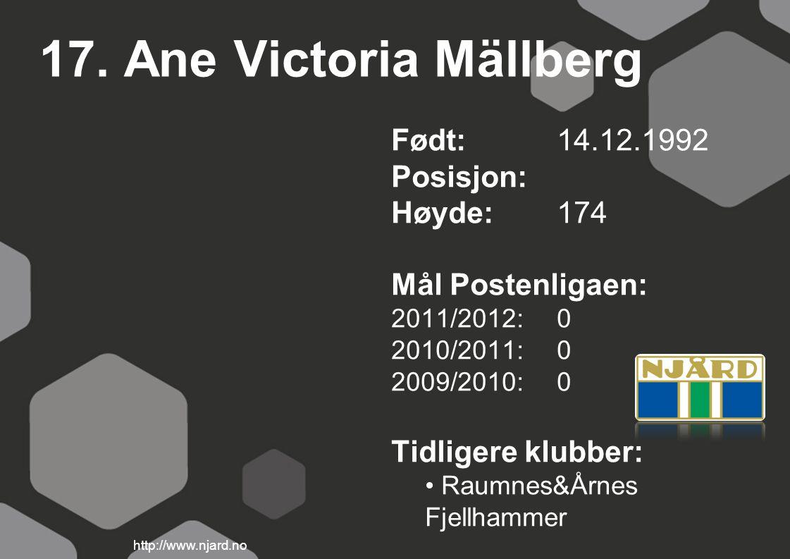 17. Ane Victoria Mällberg Født: 14.12.1992 Posisjon: Høyde:174 Mål Postenligaen: 2011/2012: 0 2010/2011: 0 2009/2010: 0 Tidligere klubber: Raumnes&Årn