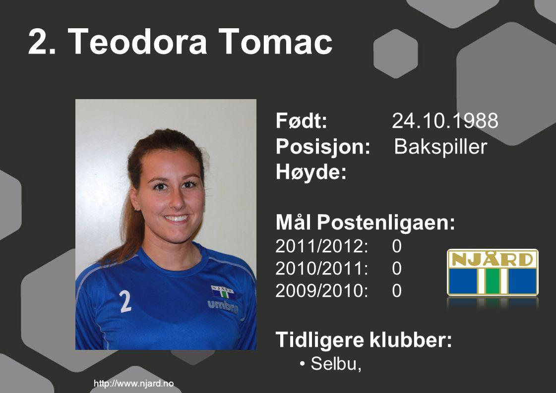 2. Teodora Tomac Født: 24.10.1988 Posisjon: Bakspiller Høyde: Mål Postenligaen: 2011/2012: 0 2010/2011: 0 2009/2010: 0 Tidligere klubber: Selbu, http: