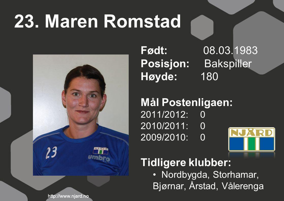 23. Maren Romstad Født: 08.03.1983 Posisjon: Bakspiller Høyde:180 Mål Postenligaen: 2011/2012: 0 2010/2011: 0 2009/2010: 0 Tidligere klubber: Nordbygd