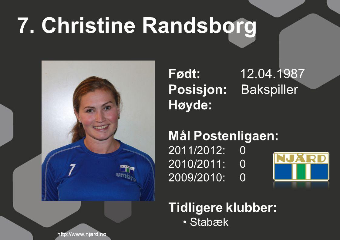 7. Christine Randsborg Født: 12.04.1987 Posisjon: Bakspiller Høyde: Mål Postenligaen: 2011/2012: 0 2010/2011: 0 2009/2010: 0 Tidligere klubber: Stabæk