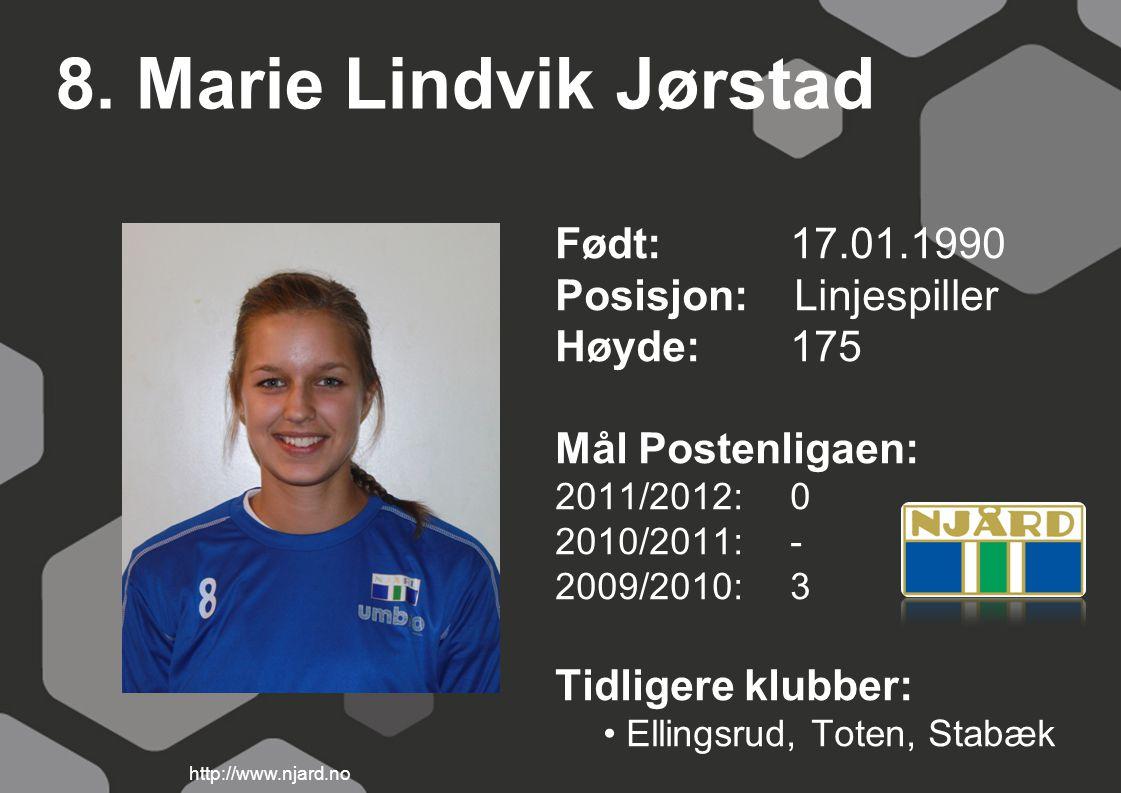8. Marie Lindvik Jørstad Født: 17.01.1990 Posisjon: Linjespiller Høyde:175 Mål Postenligaen: 2011/2012: 0 2010/2011: - 2009/2010: 3 Tidligere klubber:
