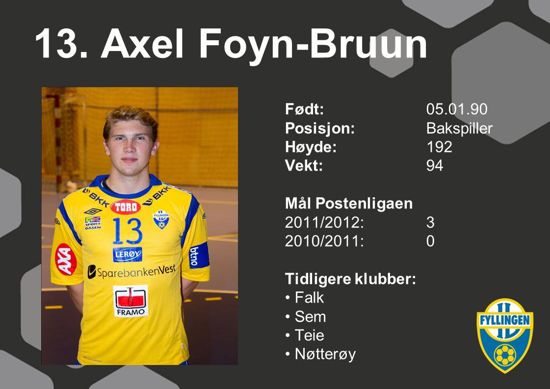 13. Axel Foyn-Bruun Født:05.01.90 Posisjon:Bakspiller Høyde:192 Vekt:94 Mål Postenligaen 2011/2012:3 2010/2011:0 Tidligere klubber: Falk Sem Teie Nøtt