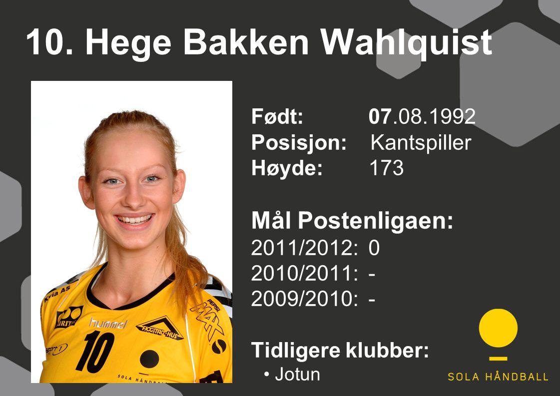 10. Hege Bakken Wahlquist Født: 07.08.1992 Posisjon: Kantspiller Høyde:173 Mål Postenligaen: 2011/2012: 0 2010/2011: - 2009/2010: - Tidligere klubber: