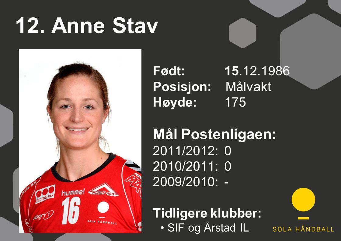 12. Anne Stav Født: 15.12.1986 Posisjon: Målvakt Høyde:175 Mål Postenligaen: 2011/2012: 0 2010/2011: 0 2009/2010: - Tidligere klubber: SIF og Årstad I