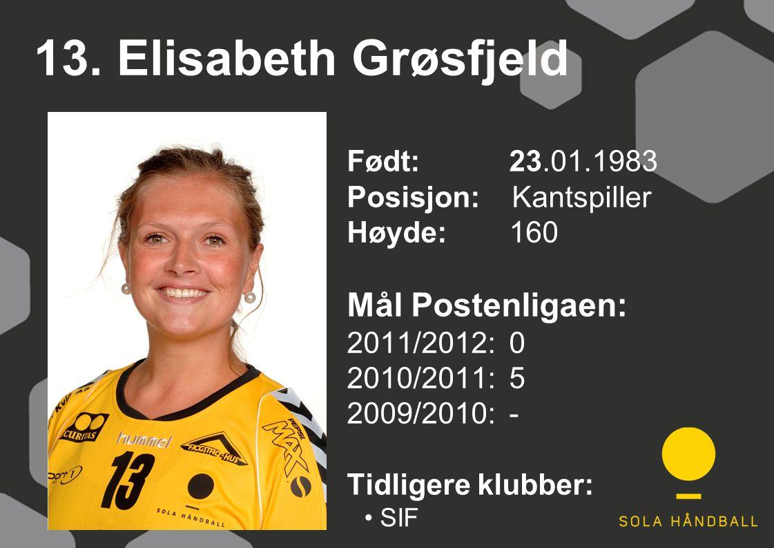 13. Elisabeth Grøsfjeld Født: 23.01.1983 Posisjon: Kantspiller Høyde:160 Mål Postenligaen: 2011/2012: 0 2010/2011: 5 2009/2010: - Tidligere klubber: S