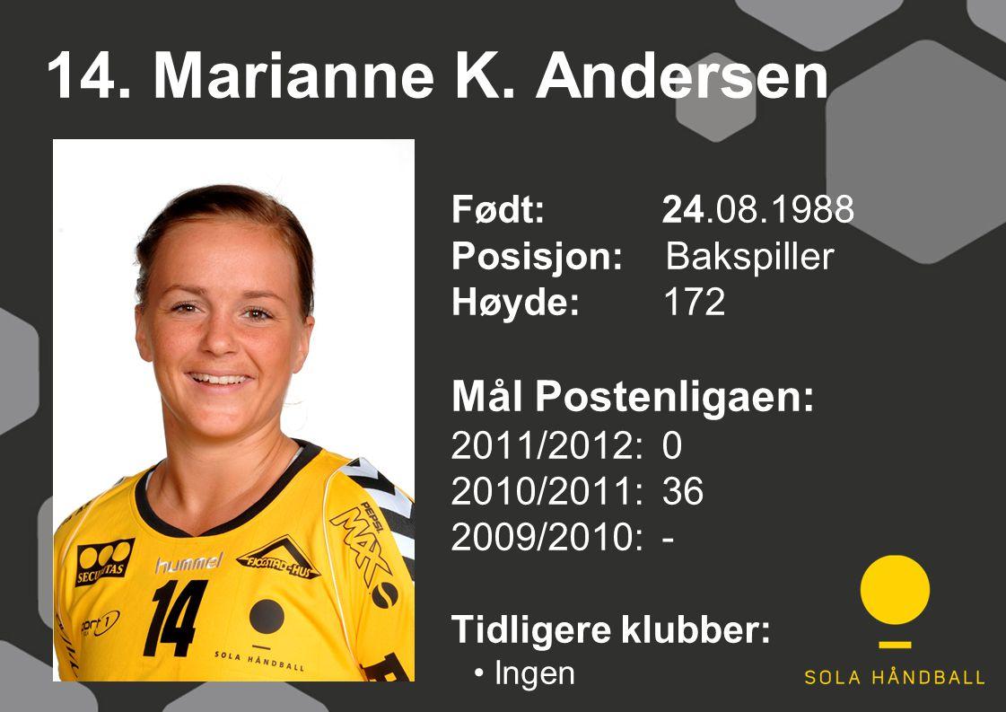 14. Marianne K. Andersen Født: 24.08.1988 Posisjon: Bakspiller Høyde:172 Mål Postenligaen: 2011/2012: 0 2010/2011: 36 2009/2010: - Tidligere klubber: