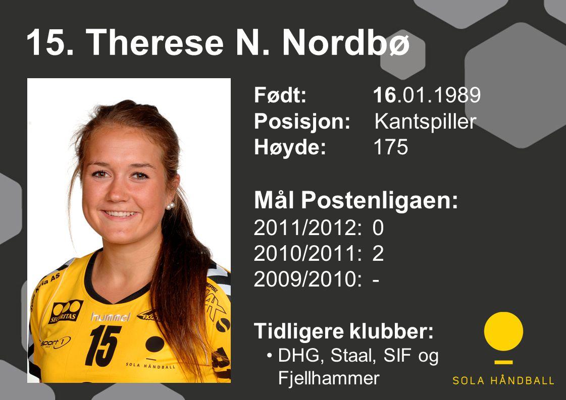 15. Therese N. Nordbø Født: 16.01.1989 Posisjon: Kantspiller Høyde:175 Mål Postenligaen: 2011/2012: 0 2010/2011: 2 2009/2010: - Tidligere klubber: DHG