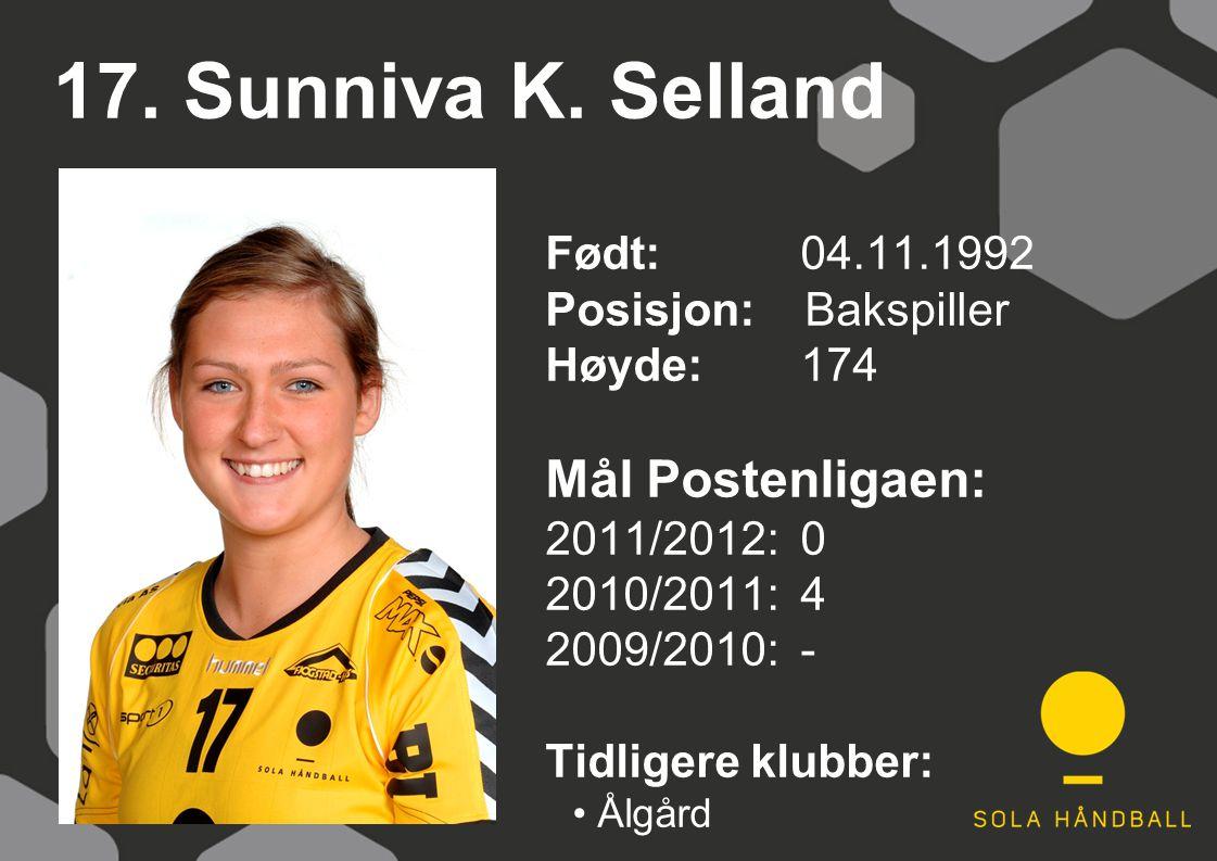 17. Sunniva K. Selland Født: 04.11.1992 Posisjon: Bakspiller Høyde:174 Mål Postenligaen: 2011/2012: 0 2010/2011: 4 2009/2010: - Tidligere klubber: Ålg