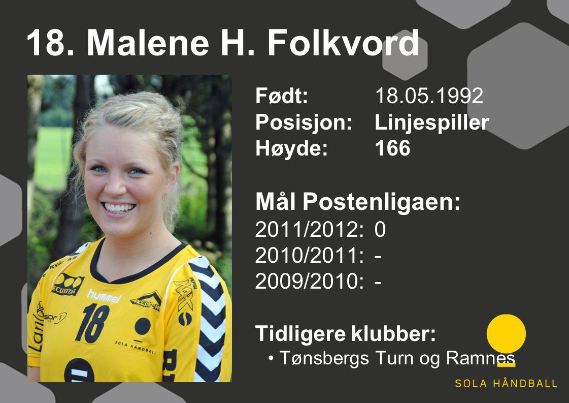 18. Malene H. Folkvord Født: 18.05.1992 Posisjon:Linjespiller Høyde:166 Mål Postenligaen: 2011/2012: 0 2010/2011: - 2009/2010: - Tidligere klubber: Tø