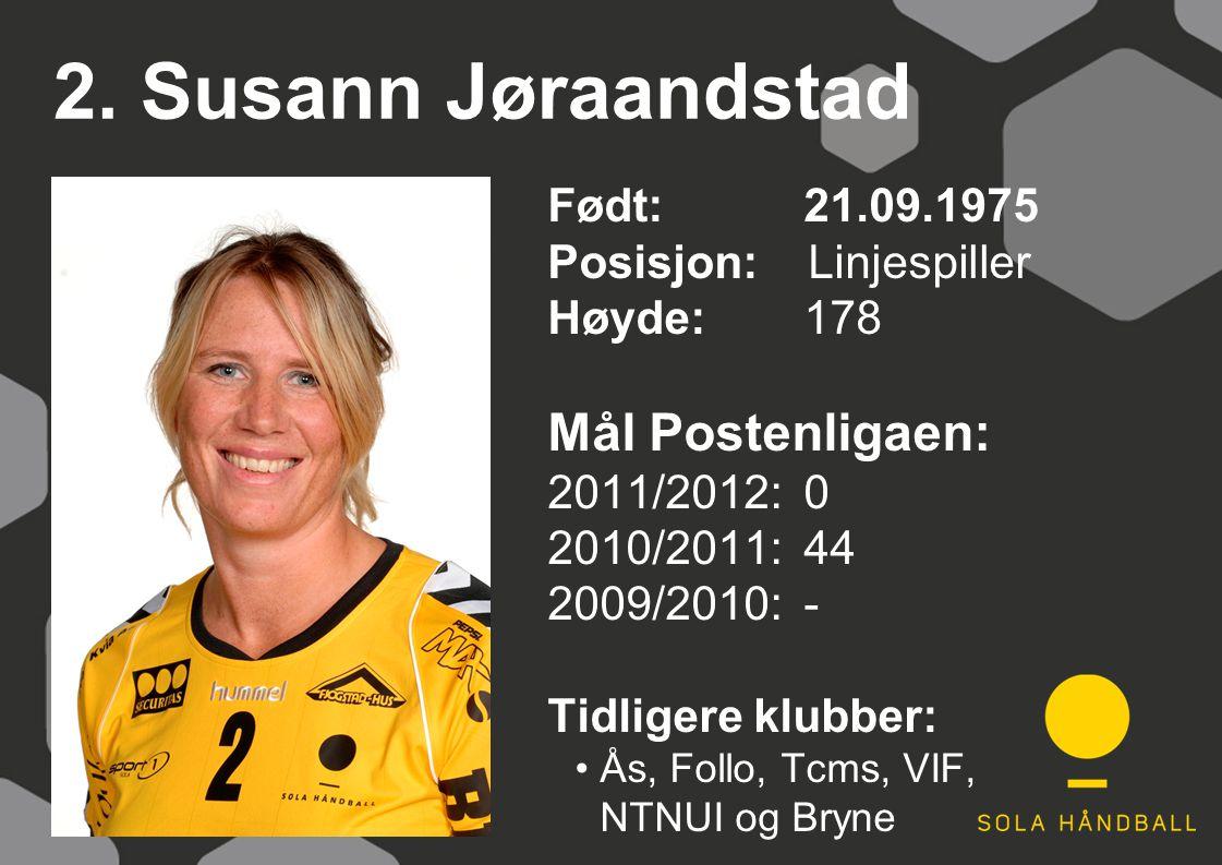 2. Susann Jøraandstad Født: 21.09.1975 Posisjon: Linjespiller Høyde:178 Mål Postenligaen: 2011/2012: 0 2010/2011: 44 2009/2010: - Tidligere klubber: Å