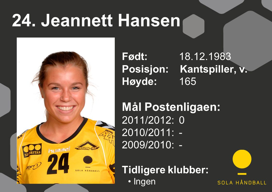 24. Jeannett Hansen Født: 18.12.1983 Posisjon: Kantspiller, v. Høyde:165 Mål Postenligaen: 2011/2012: 0 2010/2011: - 2009/2010: - Tidligere klubber: I