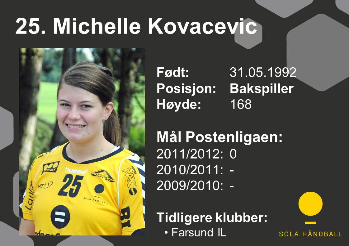 25. Michelle Kovacevic Født: 31.05.1992 Posisjon:Bakspiller Høyde:168 Mål Postenligaen: 2011/2012: 0 2010/2011: - 2009/2010: - Tidligere klubber: Fars