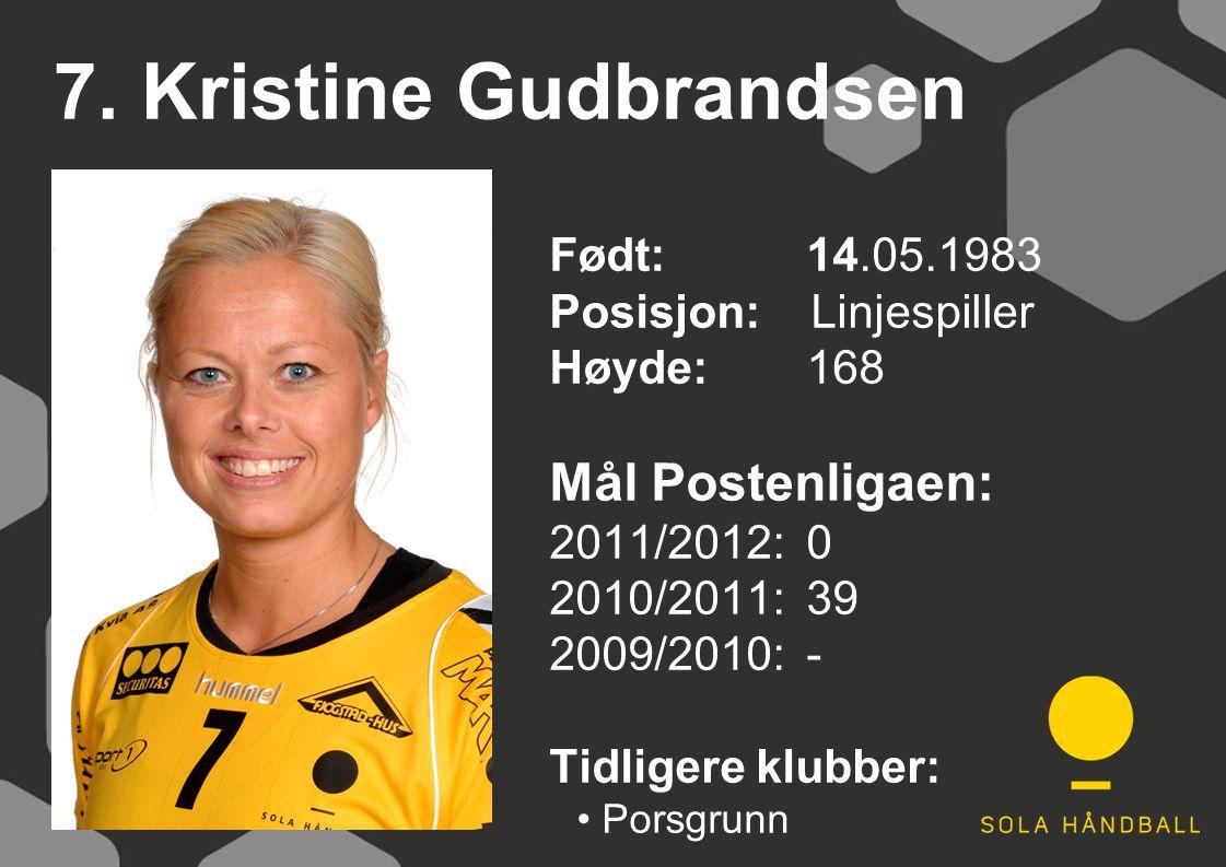 7. Kristine Gudbrandsen Født: 14.05.1983 Posisjon: Linjespiller Høyde:168 Mål Postenligaen: 2011/2012: 0 2010/2011: 39 2009/2010: - Tidligere klubber: