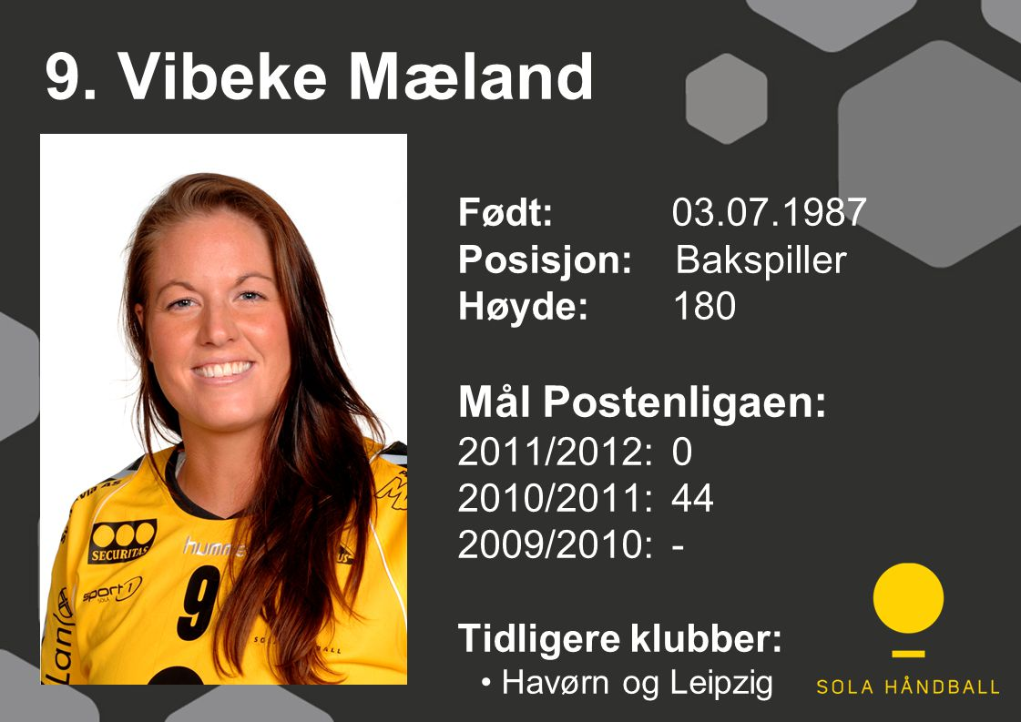 9. Vibeke Mæland Født: 03.07.1987 Posisjon: Bakspiller Høyde:180 Mål Postenligaen: 2011/2012: 0 2010/2011: 44 2009/2010: - Tidligere klubber: Havørn o
