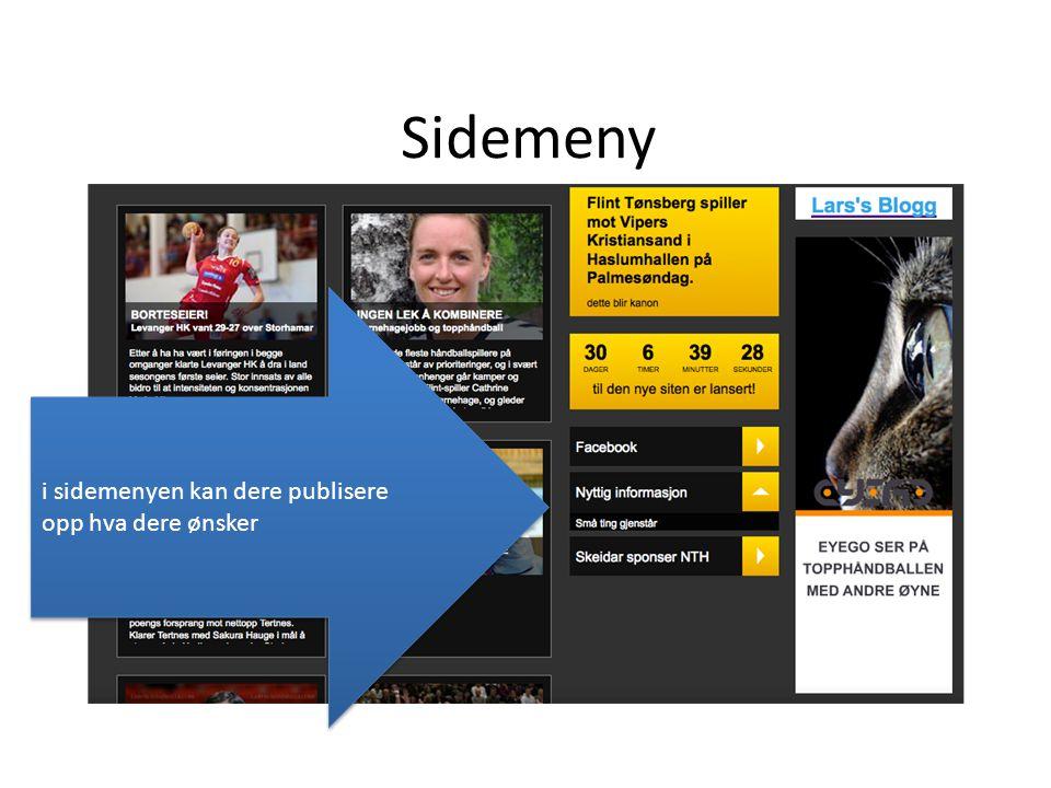 Sidemeny i sidemenyen kan dere publisere opp hva dere ønsker