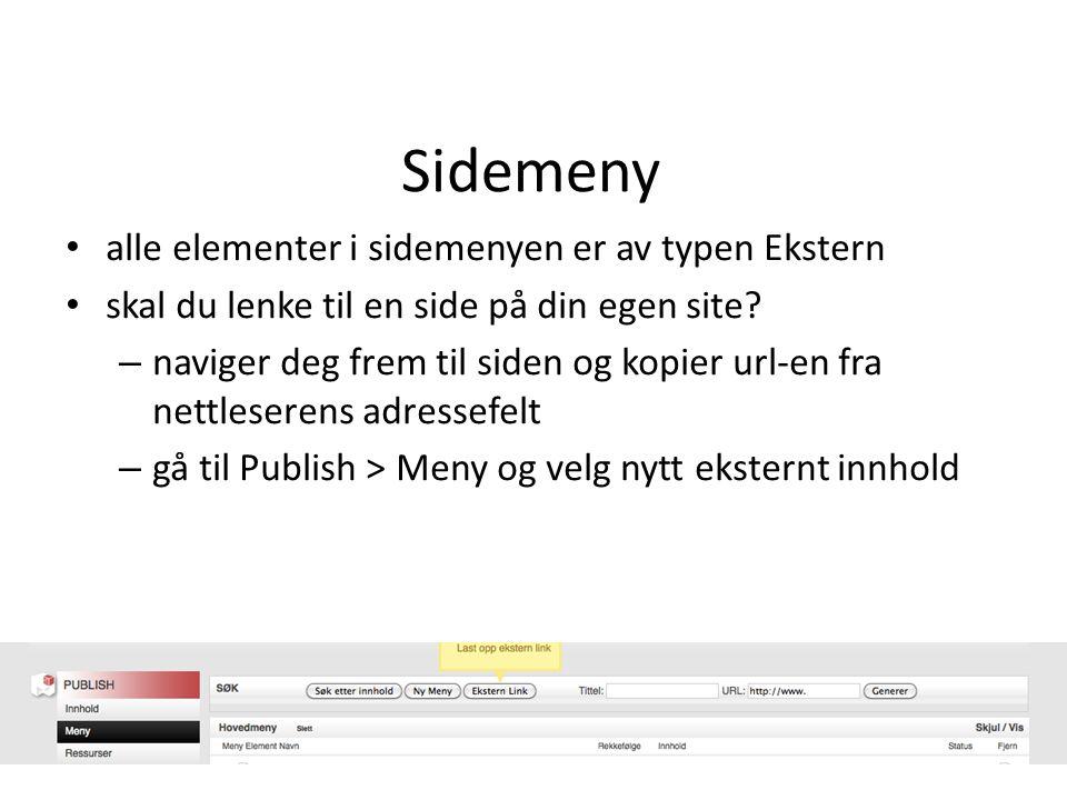 alle elementer i sidemenyen er av typen Ekstern skal du lenke til en side på din egen site.