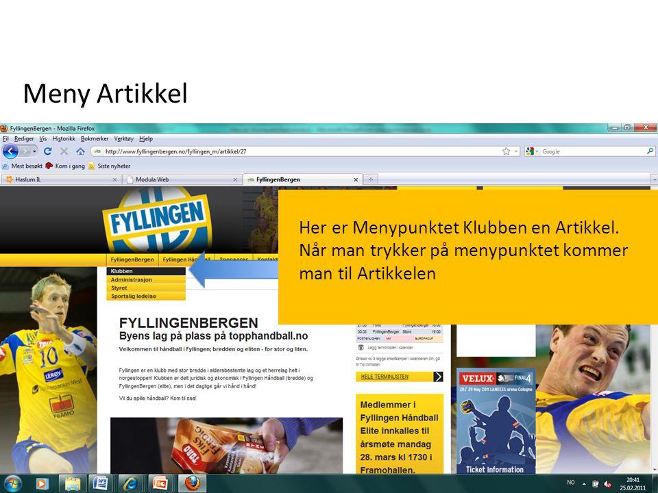 Meny Artikkel Her er Menypunktet Klubben en Artikkel.