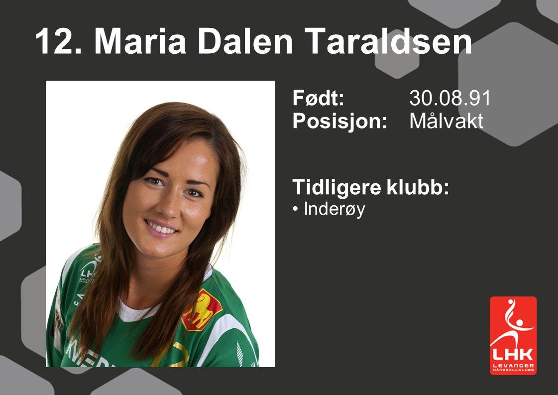 12. Maria Dalen Taraldsen Født:30.08.91 Posisjon: Målvakt Tidligere klubb: Inderøy