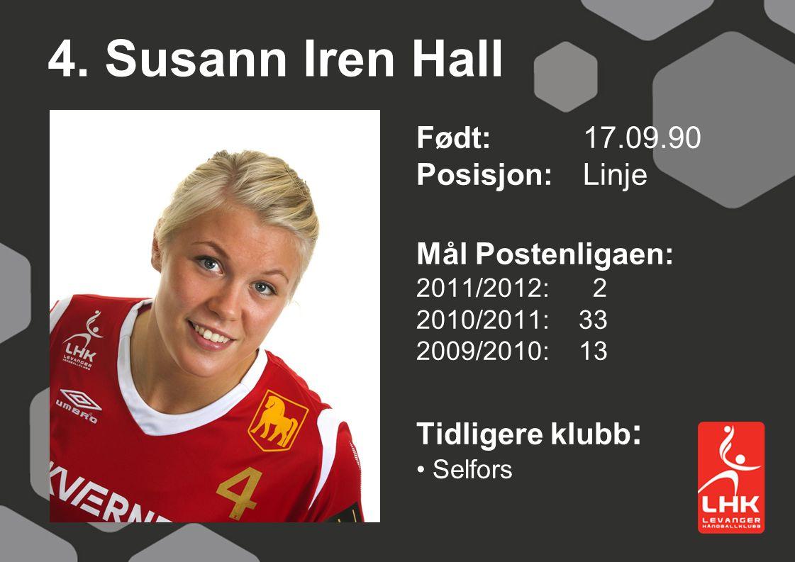 4. Susann Iren Hall Født:17.09.90 Posisjon: Linje Mål Postenligaen: 2011/2012: 2 2010/2011: 33 2009/2010: 13 Tidligere klubb : Selfors