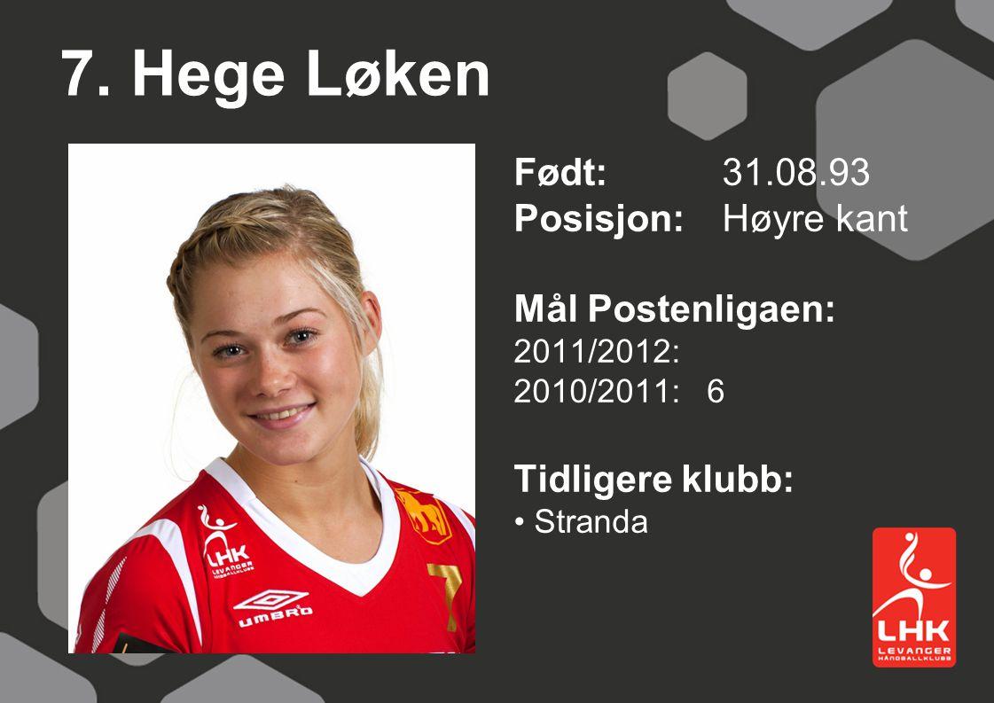 7. Hege Løken Født:31.08.93 Posisjon: Høyre kant Mål Postenligaen: 2011/2012: 2010/2011: 6 Tidligere klubb: Stranda