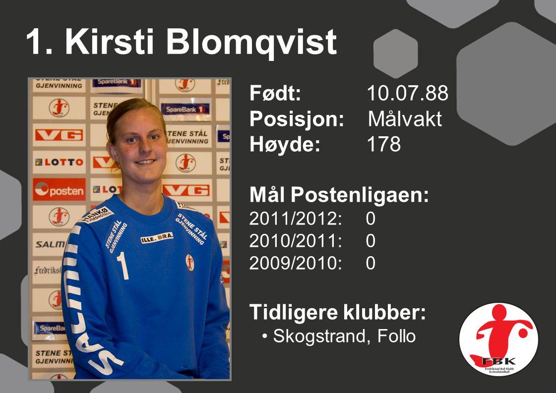 1. Kirsti Blomqvist Født: 10.07.88 Posisjon: Målvakt Høyde:178 Mål Postenligaen: 2011/2012: 0 2010/2011: 0 2009/2010: 0 Tidligere klubber: Skogstrand,