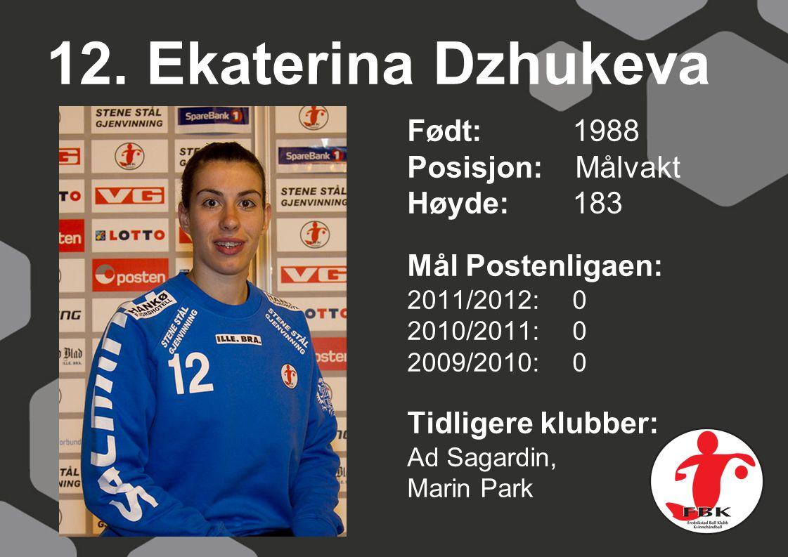 12. Ekaterina Dzhukeva Født: 1988 Posisjon: Målvakt Høyde:183 Mål Postenligaen: 2011/2012: 0 2010/2011: 0 2009/2010: 0 Tidligere klubber: Ad Sagardin,