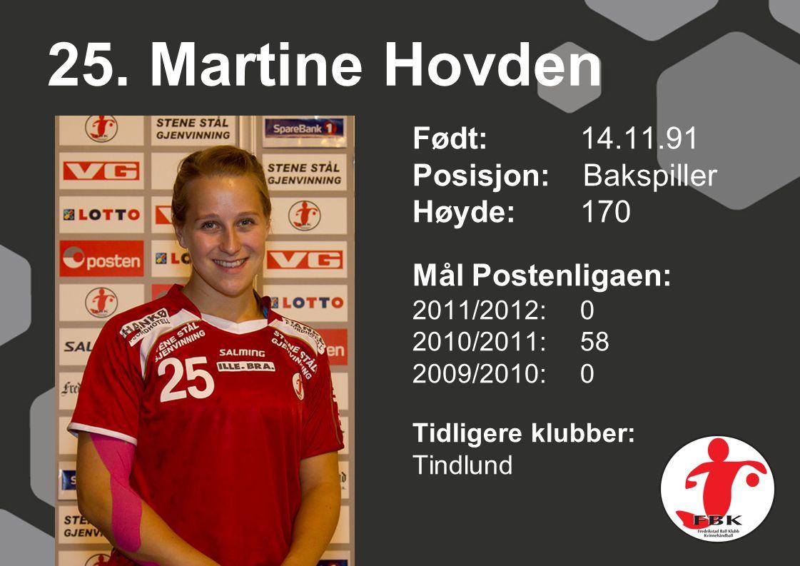 25. Martine Hovden Født: 14.11.91 Posisjon: Bakspiller Høyde:170 Mål Postenligaen: 2011/2012: 0 2010/2011: 58 2009/2010: 0 Tidligere klubber: Tindlund