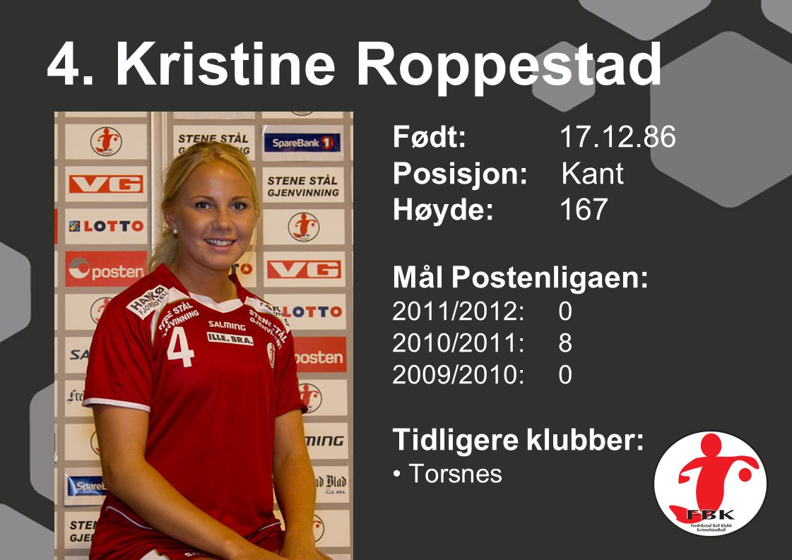 4. Kristine Roppestad Født: 17.12.86 Posisjon: Kant Høyde:167 Mål Postenligaen: 2011/2012: 0 2010/2011: 8 2009/2010: 0 Tidligere klubber: Torsnes