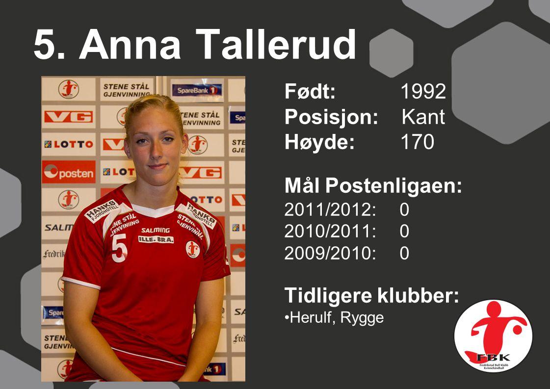 5. Anna Tallerud Født: 1992 Posisjon: Kant Høyde:170 Mål Postenligaen: 2011/2012: 0 2010/2011: 0 2009/2010: 0 Tidligere klubber: Herulf, Rygge