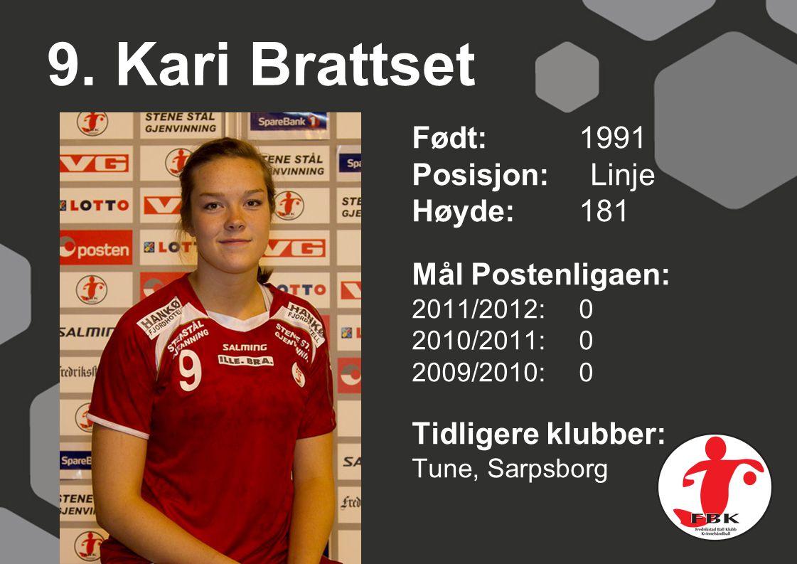9. Kari Brattset Født: 1991 Posisjon: Linje Høyde:181 Mål Postenligaen: 2011/2012: 0 2010/2011: 0 2009/2010: 0 Tidligere klubber: Tune, Sarpsborg