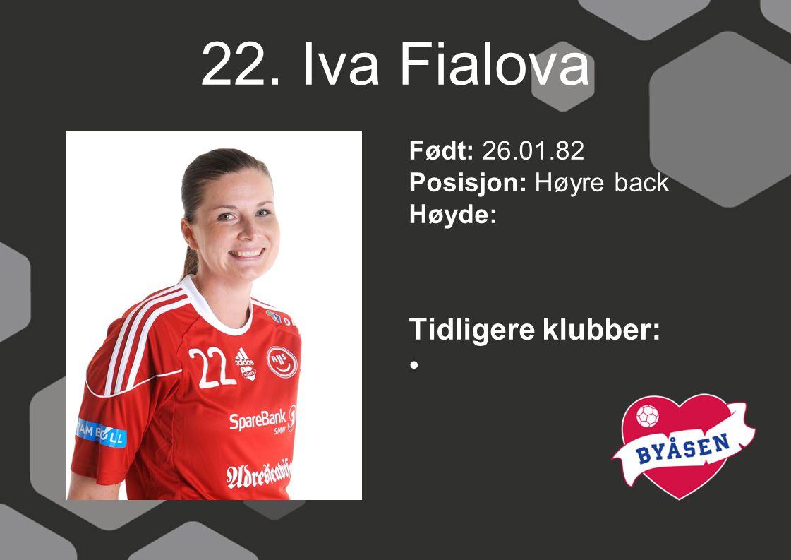 22. Iva Fialova Født: 26.01.82 Posisjon: Høyre back Høyde: Tidligere klubber: