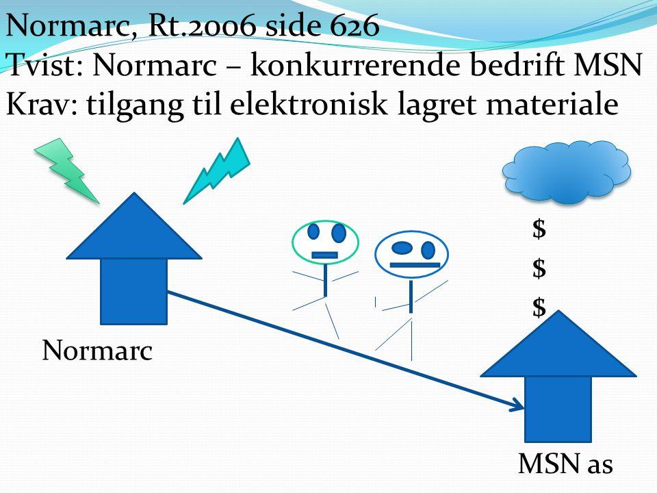 Normarc MSN as Normarc, Rt.2006 side 626 Tvist: Normarc – konkurrerende bedrift MSN Krav: tilgang til elektronisk lagret materiale $$$$$$