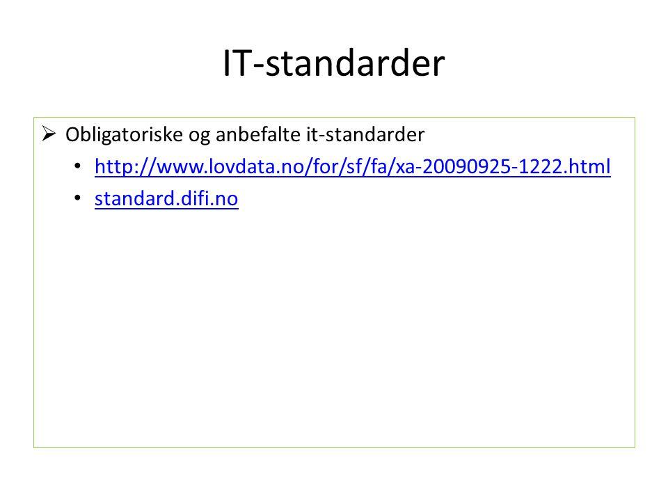 IT-standarder  Obligatoriske og anbefalte it-standarder http://www.lovdata.no/for/sf/fa/xa-20090925-1222.html standard.difi.no