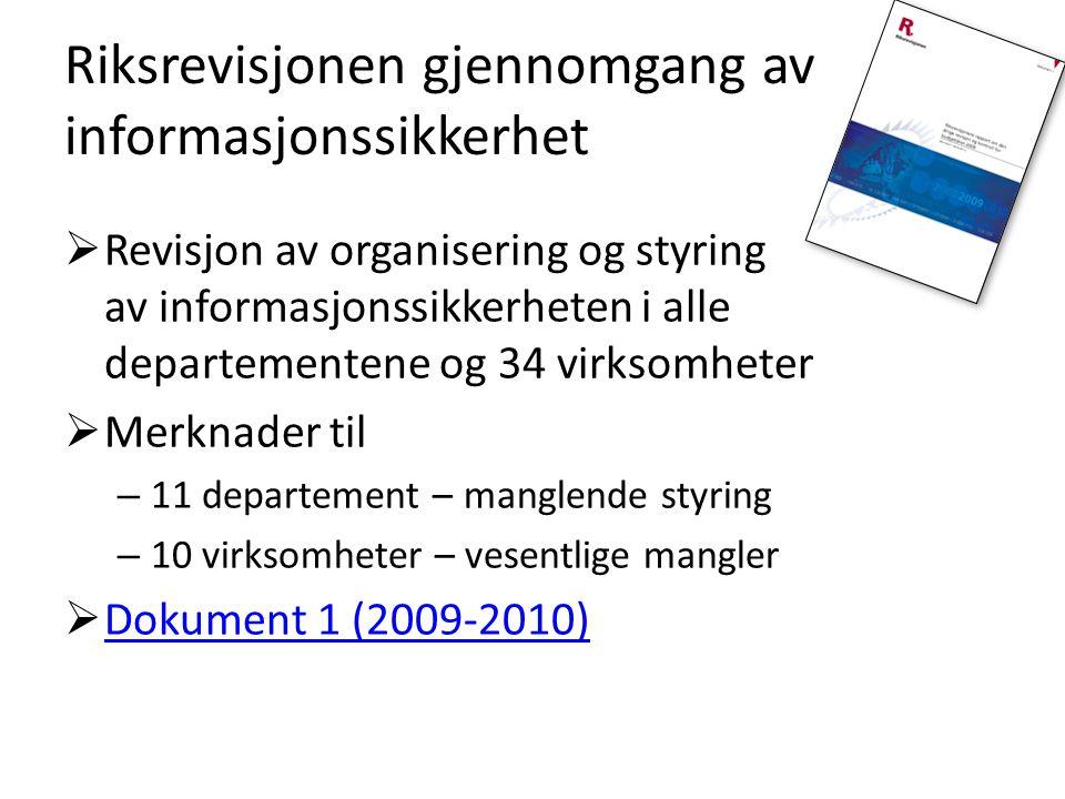Riksrevisjonen gjennomgang av informasjonssikkerhet  Revisjon av organisering og styring av informasjonssikkerheten i alle departementene og 34 virks
