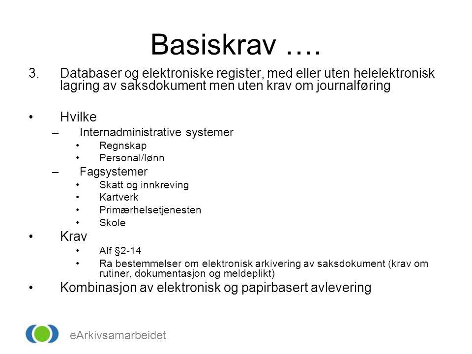 eArkivsamarbeidet Basiskrav …. 3.Databaser og elektroniske register, med eller uten helelektronisk lagring av saksdokument men uten krav om journalfør