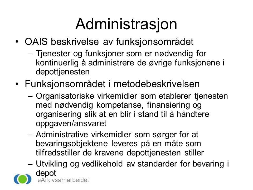 eArkivsamarbeidet Administrasjon OAIS beskrivelse av funksjonsområdet –Tjenester og funksjoner som er nødvendig for kontinuerlig å administrere de øvrige funksjonene i depottjenesten Funksjonsområdet i metodebeskrivelsen –Organisatoriske virkemidler som etablerer tjenesten med nødvendig kompetanse, finansiering og organisering slik at en blir i stand til å håndtere oppgaven/ansvaret –Administrative virkemidler som sørger for at bevaringsobjektene leveres på en måte som tilfredsstiller de kravene depottjenesten stiller –Utvikling og vedlikehold av standarder for bevaring i depot